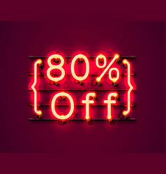 neon frame 80 off text banner night sign board vector image