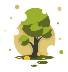 new cartoon style tree icon isolated on white vector image