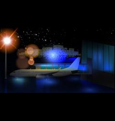 night view airport passenger terminal vector image