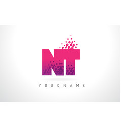 nt n t letter logo with pink purple color and vector image