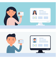 people holding up id cards account verification vector image