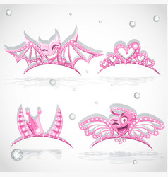 Pink tiaras for carnival costume vector