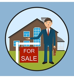 Real estate broker cottage for sale vector
