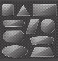 realistic detailed 3d glass plates set vector image