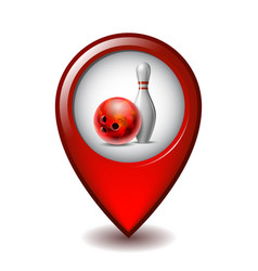 red glossy bowling ball and white bowling pin on vector image