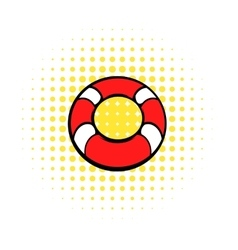 Red lifebuoy icon comics style vector image