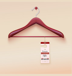 Red tag with special offer sign wooden hanger vector image