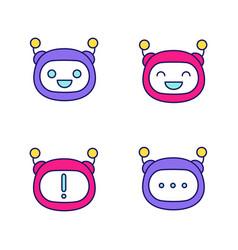 Robot emojis color icons set vector