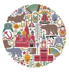 russian icons in form a circle vector image