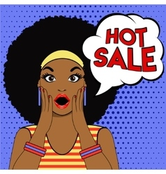 Sale bubble pop art surprised afro woman face vector