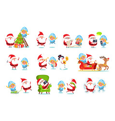 Santa and snow maiden life vector