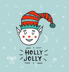 santa claus kid cartoon elf helper working vector image