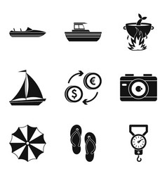 Sea recreation icons set simple style vector