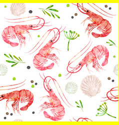 Seamless pattern seafood shrimps shells spice vector