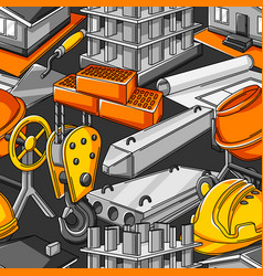 seamless pattern with housing construction items vector image