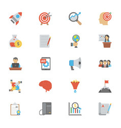 Seo and marketing flat icons pack vector