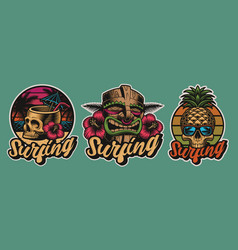 set colourful hawaii surfing with skulls tiki vector image