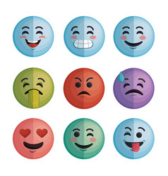 set faces emoticons characters icons vector image