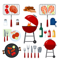 set for barbecue party vector image