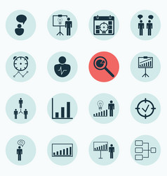 Set of 16 administration icons includes report vector