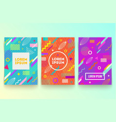 set of abstract memphis style retro background vector image