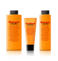 set of realistic cosmetic orange bottle with black vector image