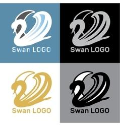 Set Swans Logo Design template vector image