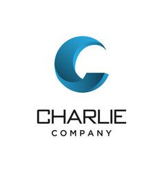 Simple 3d letter c logo design vector