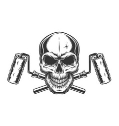 skull and paint rollers template vector image
