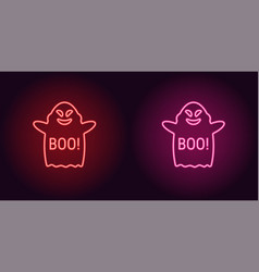 Soaring neon ghost in red and pink color vector