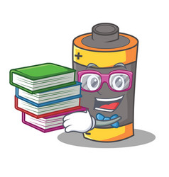Student with book battery mascot cartoon style vector