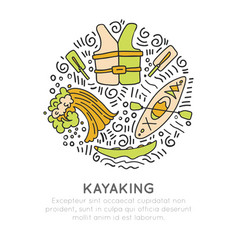 Summer kayaking icon set hand draw style vector