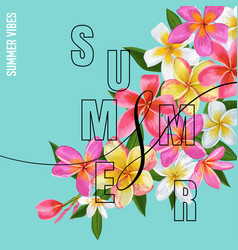 Summertime floral poster with plumeria flowers vector