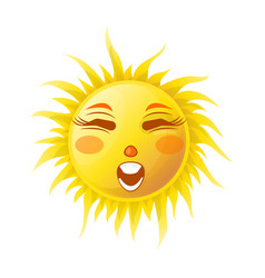 sun smile or summer cartoon emoticon and emoji vector image