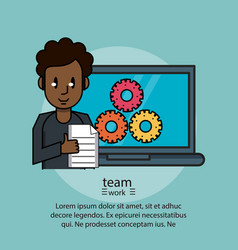 teamwork poster with information vector image