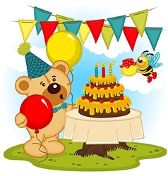 teddy bear celebrates birthday vector image