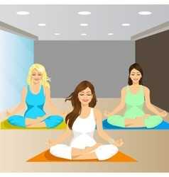 Three smiling women sitting in yoga pose vector