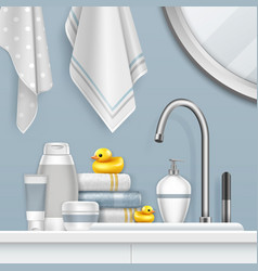 Towels and bathing set on vector