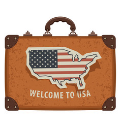 travel bag with map and flag of usa vector image