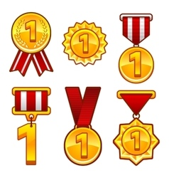 Trophy awards flat medal first place badge vector image