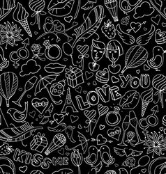Valentine Day pattern Sketch style vector image