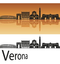 Verona skyline in orange background vector