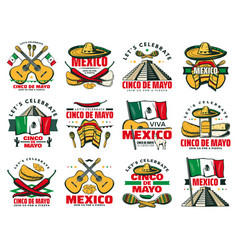 Viva mexico icon for cinco de mayo mexican holiday vector