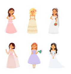 Wedding brides characters vector