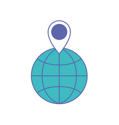 world globe and map pointer on top in blue and vector image