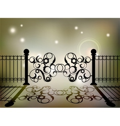 Wrought iron gate vector