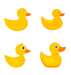 yellow duck icons set flat style vector image