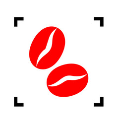 coffee beans sign red icon inside black vector image