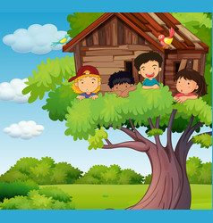 kids playing at treehouse in park vector image vector image