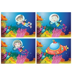 Kids scuba diving under the sea vector image vector image